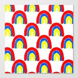 Watercolor Primary Rainbows Repeat Canvas Print
