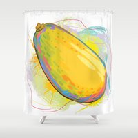 vietnam Shower Curtains featuring Vietnam Papaya by Vietnam T-shirt Project