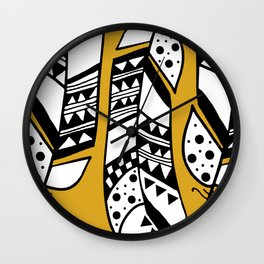 Boho Yellow Feathers Wall Clock