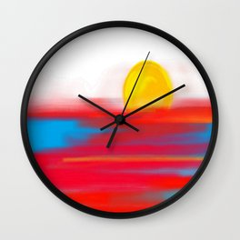 Sketchy Sun and Sea. Sunset and Sunrise Sketch Wall Clock