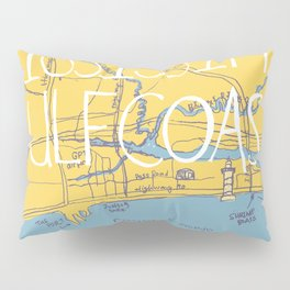 Mississippi Gulf Coast Map Pillow Sham