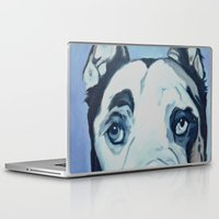 great dane Laptop & iPad Skins featuring Great Dane in Purple by Barking Dog Creations Studio