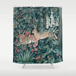 William Morris Forest Rabbits and Foxglove Shower Curtain