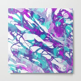 Abstract Acrylic Paint Pattern Texture #5 - Purple, Turquoise Metal Print