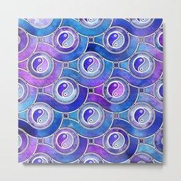 Watercolor Yin yang symbol pattern in purples and blues Metal Print