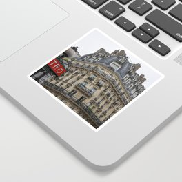 Paris architecture and Red Metro Sign Sticker