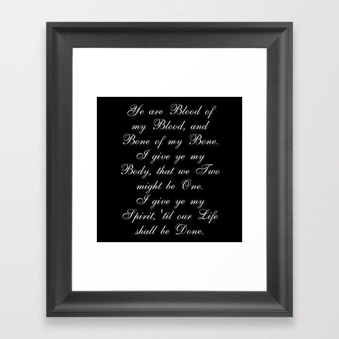 Outlander Wedding Vows Framed Art Print