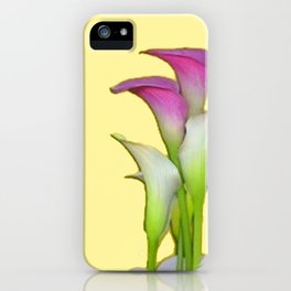 PURPLE & WHITE CALLA LILIES FLORAL YELLOW ART iPhone Case
