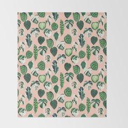 Variegated Plants - houseplants, plants, leaves, tropical, palm print, palms Throw Blanket