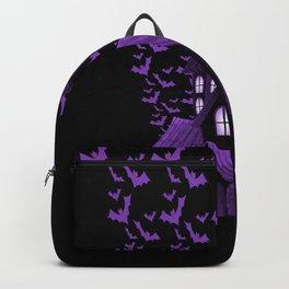 Purple Halloween Haunted House Bat Flyover Backpack