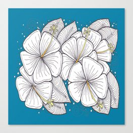 Zentangle Blue and Gold Hibiscus Blossoms for Flower Lovers Canvas Print