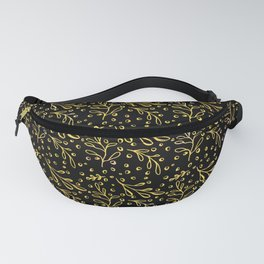 Doodle Sprouts (Gold Line) - Black Fanny Pack