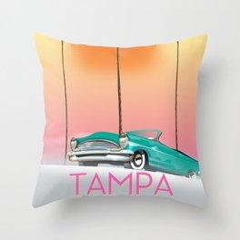 Tampa Florida Travel poster Throw Pillow