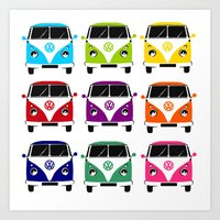 vw Art Prints featuring VW Campervan by chauloom