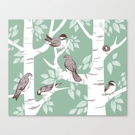 Birch Birds Canvas Print