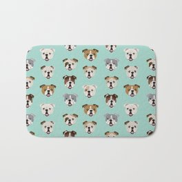 English Bulldog pattern print dog breed pet portrait gifts for dog owner bulldog Bath Mat