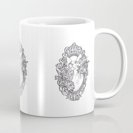Baroque Frame - Sphynx Cat with Roses - Line Art - Hand Drawing Hairless Kitty  Coffee Mug