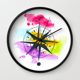 Watercolor Compass Wall Clock