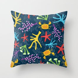 Seabed, ocean pattern design Throw Pillow