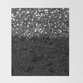 Black & Silver Glitter Gradient Throw Blanket