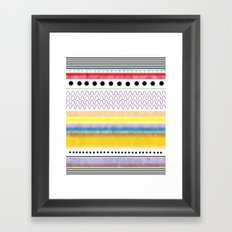Striped black and white Abstract Circles Scallop Happy Polka Dots Framed Art Print