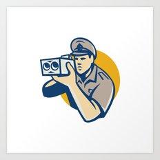 policeman with police speed camera retro Art Print
