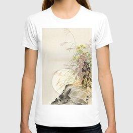 Full Moon behind grass - Japanese vintage woodblock print T-shirt
