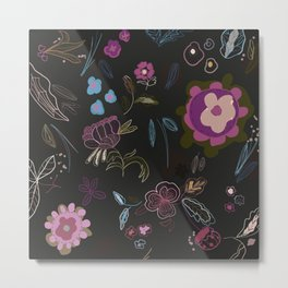 Black background with abstract flowers. Surreal floral pattern Metal Print