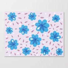 Gentle Blue Flowers Pattern Canvas Print