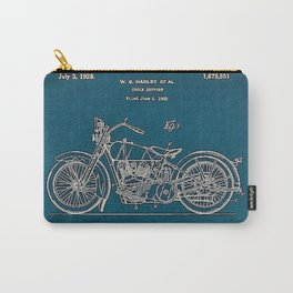 1902 Motorcycle Blueprint Patent in blue Carry-All Pouch