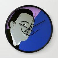 salvador dali Wall Clocks featuring Salvador Dali by Felix Zekveld