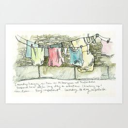 Camino de Santiago - Pilgrim Laundry Art Print