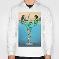 martini Hoodies featuring Frog Martini by Dino Turull