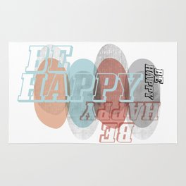 BE HAPPY, abstract soft colours geometric shapes, typography Rug