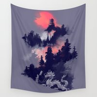 sunset Wall Tapestries featuring Samurai's life by Picomodi
