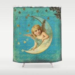 Vintage-Shabby-chic- Beautiful Christmas angel on aqua background Shower Curtain