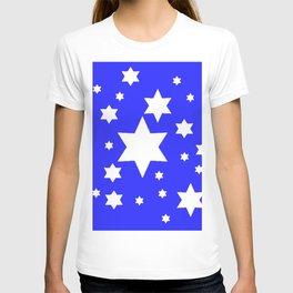WHITE STARS ON BLUE DESIGN ART T-shirt