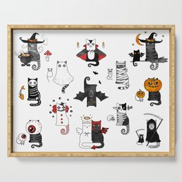 Horror Cats and mouses. Cute witch, vampire, angel and demon Serving Tray