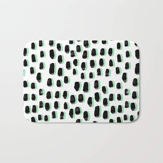 Shift pattern mint pastel black and white minimal dots painting brushstrokes modern art dorm college Bath Mat