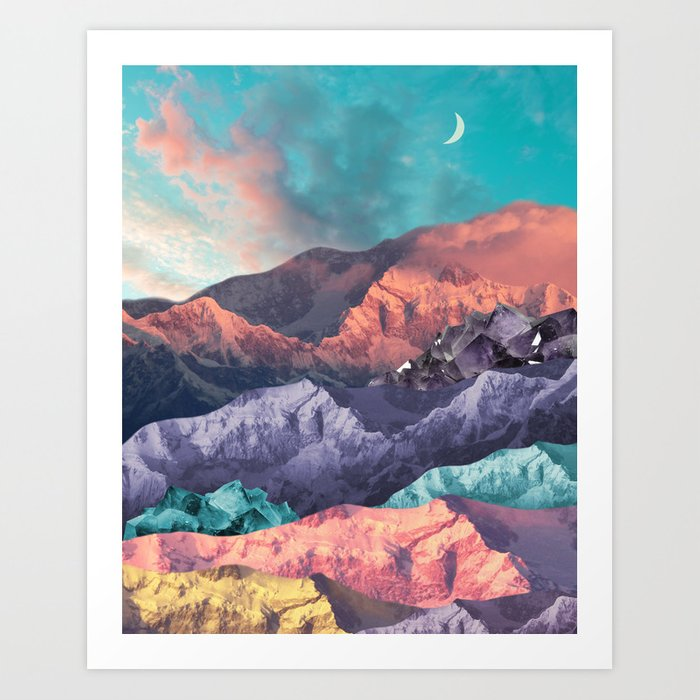 Moon Mountains Art Print