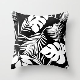 Tropical Monstera And Palm Leaves Black N White Throw Pillow