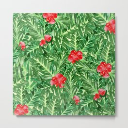 Holly Jolly Christmas Leaves & Berries (Large Pattern) Metal Print