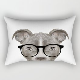 Pit bull with glasses Dog illustration original painting print Rectangular Pillow