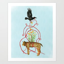 Crow Carries the Bobcat Art Print