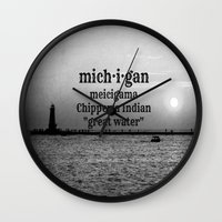 michigan Wall Clocks featuring Michigan by KimberosePhotography
