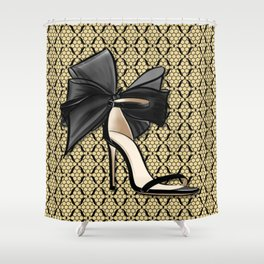 High Heel Shoe with Gold and Black Fishnet Lace Decor Pattern Shower Curtain