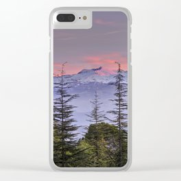 Pink sunset at the snowy mountain. Yesterday Clear iPhone Case
