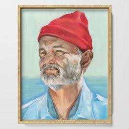 Steve Zissou Bill Murray Painted Portrait Serving Tray