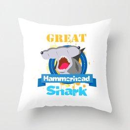 The great hammerhead shark Tee makes a great gift for shark lover Awesome Tee Great Hammerhead Shark Throw Pillow