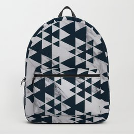 Southwestern Triangle Design over White Grey Marble Backpack
